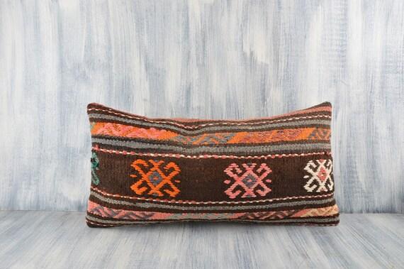 Handwoven Carpet Pillow Bohemian Kilim Lumbar Sofa Throw Pillow Kilim Cushion Cover Ethnic Kilim Pillow 12x24 Pillow Shams Home Decor