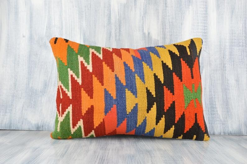 Boho Pillow Bohemian Kilim Pillow Cushion Cover Sofa Pillow Handwoven Turkish Kilim Pillow 16x24 Pillow Case Multicolored Kilim Pillow