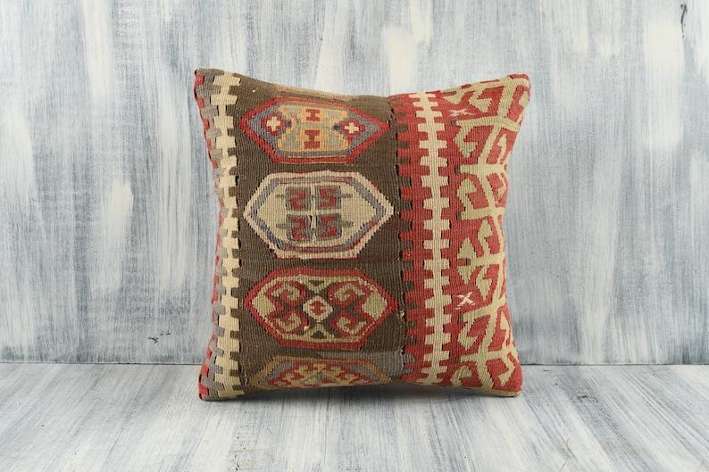 Home Decor Boho Pillow Turkish Kilim Pillow Vintage Kilim Pillow Sofa Pillow 16x16 Pillow Cover Handmade Kilim Pillow Cushion Cover