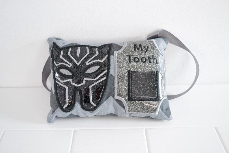 Tooth Fairy Pillow Superhero Panther Tooth Pillow image 0