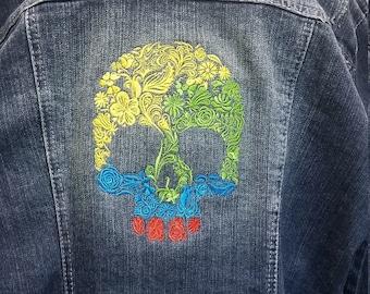 abdf1ed3cc3d Flower Skull denim jacket