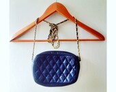 Vintage Navy Blue Quilted Cross Body Bag with Gold Chain Strap