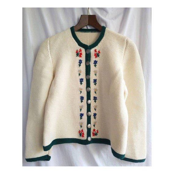 Hand knitted austrian Tracht jacket, puff sleeves,