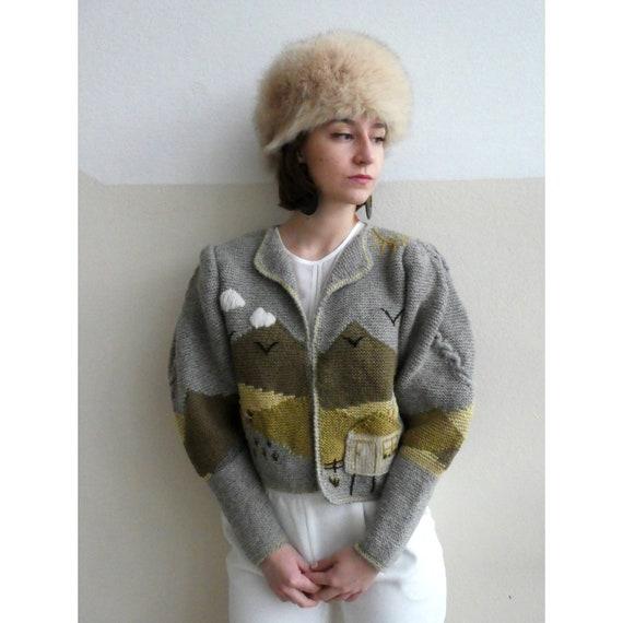 Vintage Lanz austrian tracht hand knit Cardigan wi