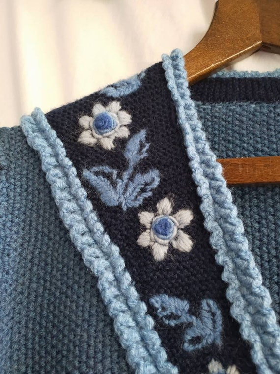 Hand knitted austrian Tracht jacket, puff sleeves… - image 2