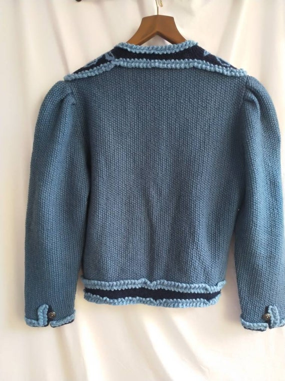 Hand knitted austrian Tracht jacket, puff sleeves… - image 3