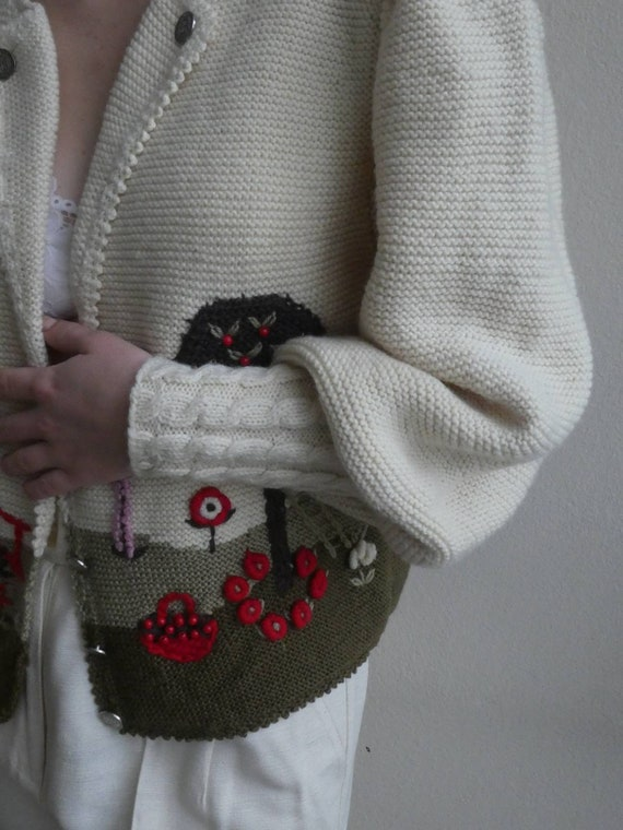 Breathtaking austrian scenic tracht sweater with … - image 7