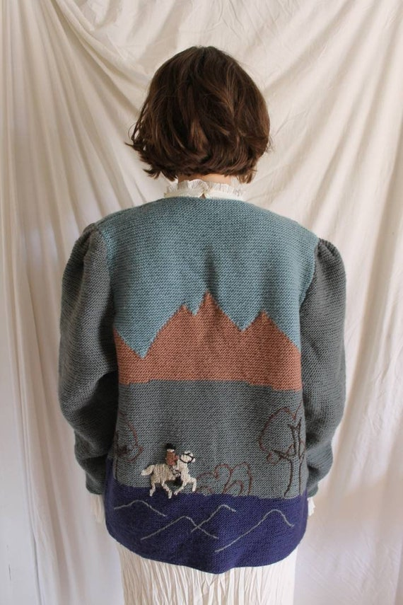 Beautiful austrian scenic tracht sweater with Ali… - image 3