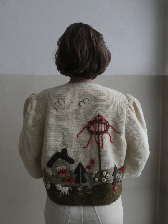 Breathtaking austrian scenic tracht sweater with … - image 9