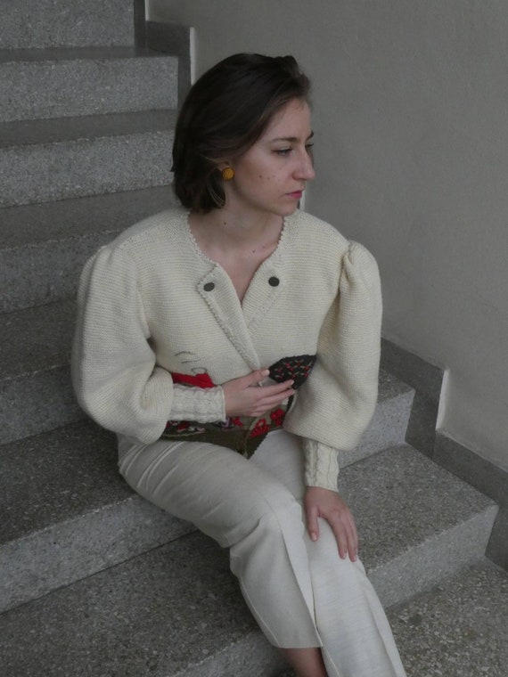 Breathtaking austrian scenic tracht sweater with … - image 8