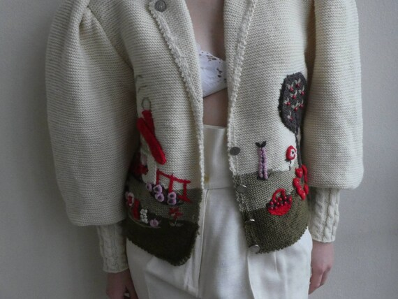 Breathtaking austrian scenic tracht sweater with … - image 3