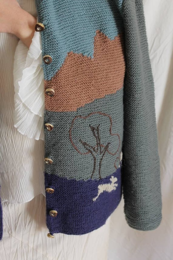 Beautiful austrian scenic tracht sweater with Ali… - image 5