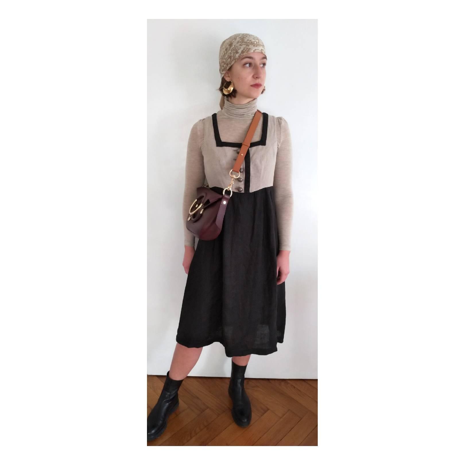 Vintage Aprons, Retro Aprons, Old Fashioned Aprons & Patterns Linen Dirndl, Linen Dress, Vintage Tracht Heavy Linen, Austrian Dress, Folk Linen, Beige Hippie Dress $113.75 AT vintagedancer.com