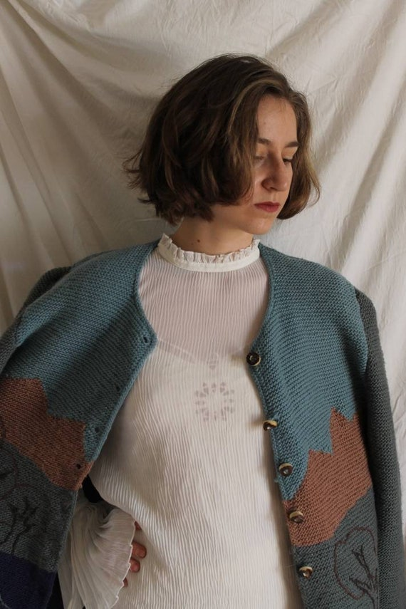 Beautiful austrian scenic tracht sweater with Ali… - image 6