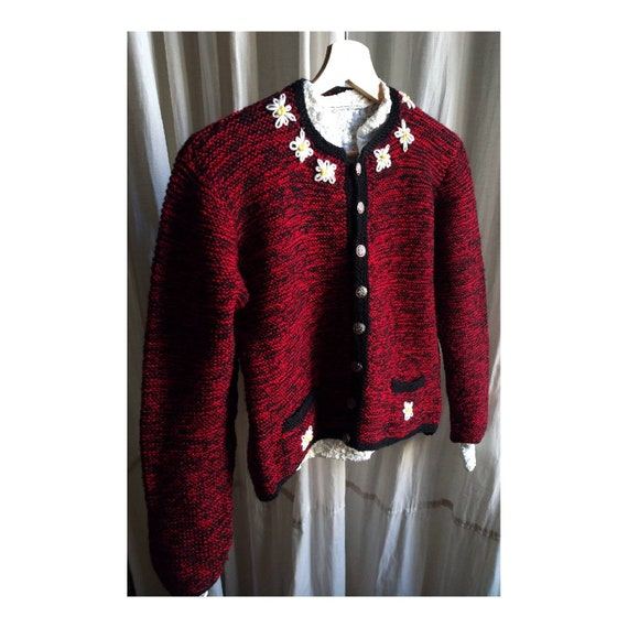 Hand knitted austrian Trachten jacket, Strickjacke