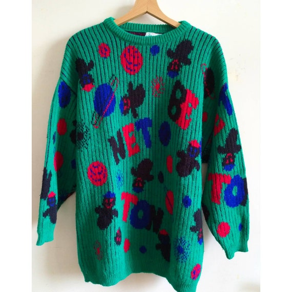 Cool Vintage Benetton Pullover with ghosts, 80s Pu