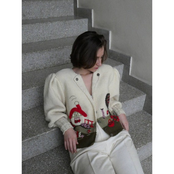 Breathtaking austrian scenic tracht sweater with … - image 2