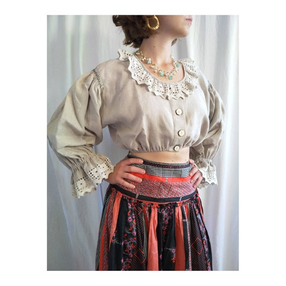 Cropped austrian blouse, cropped linen blouse, Tra