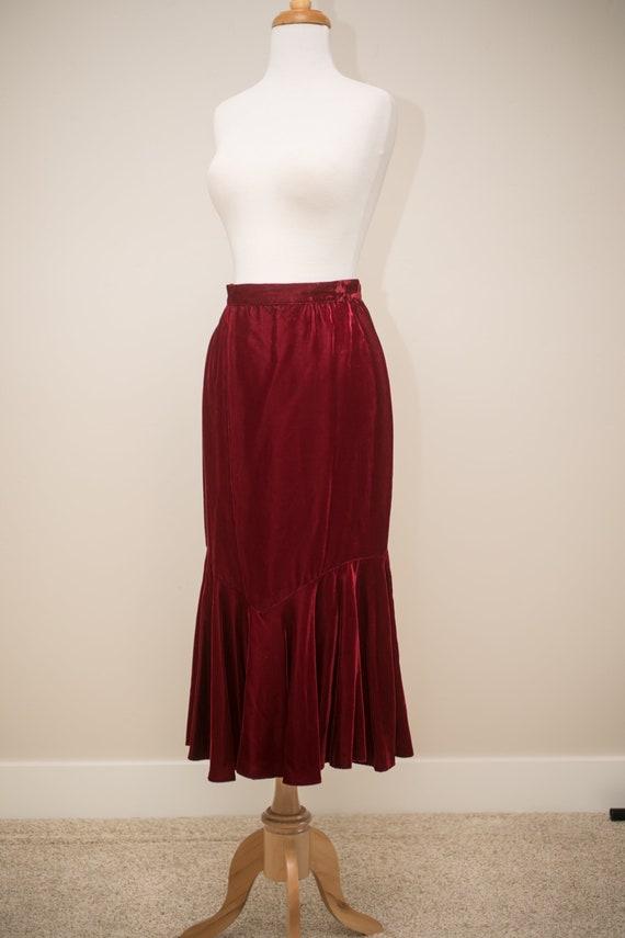 Gunne Sax vintage skirt, maroon pencil skirt, velv