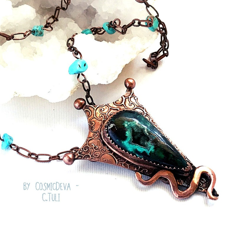 Snake Necklace Rustic Copper Necklace Oxidized Copper Jewelry Unique Chrysocolla Necklace Botryoidal Chrysocolla Copper Snake Necklace