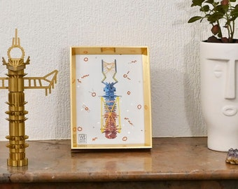 Decoration, work with embroidery on digital print color, totem, gold frame, small Couture series #1