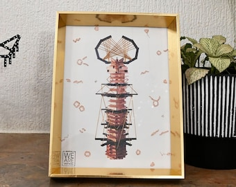 Decoration, work with embroidery on digital print color, totem, gold frame, small Couture series #2