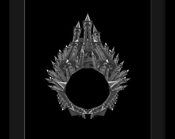 Photomontage black and white digital print around the themes of architecture and jewelry, Avrig #1
