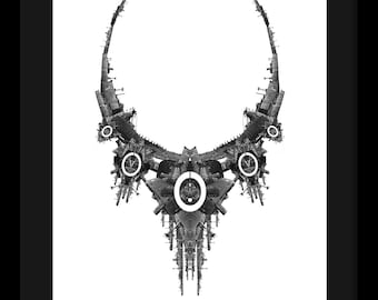 Photomontage black and white digital print around the themes of architecture and jewelry, Evangelia #1
