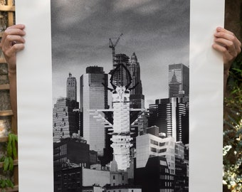 Photomontage black and white digital print on the theme of architecture, Gods of city #4