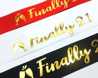 21st birthday ribbon | Etsy