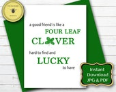 St. Patrick's Day Best Friends Card, Best Buddy Card, Holiday Friend Card, Good Friends Printable Instant Download