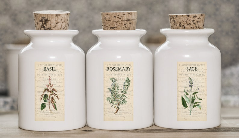 Organize your glass Jars Herbs /& Spices Jar Labels Organize Kitchen Botanical Plant Image Stickers 1x2 Vintage Style Labels