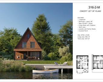 """Modern Granny's Tiny Small House Plan Cabin Cottage 2 Badroom, 1 Bath with fireplace, 28'1""""x40'8"""", Total Area: 1303,5 sq.ft"""