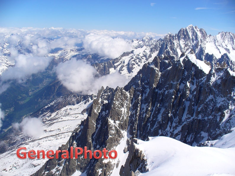 MONT BLANC vintage photo poster BEAUTIFUL SNOW-CAPPED PEAKS IN ALPS 24X36