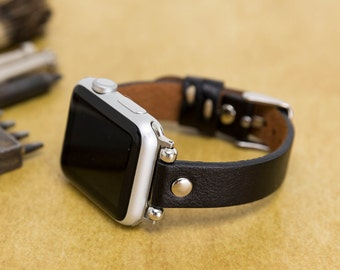 Beaded Women Genuine Leather Personalized Apple Watch Band Strap 38mm 40mm 42mm 44mm for iWatch Series 4-3-2-1, Stainless Steel Connector