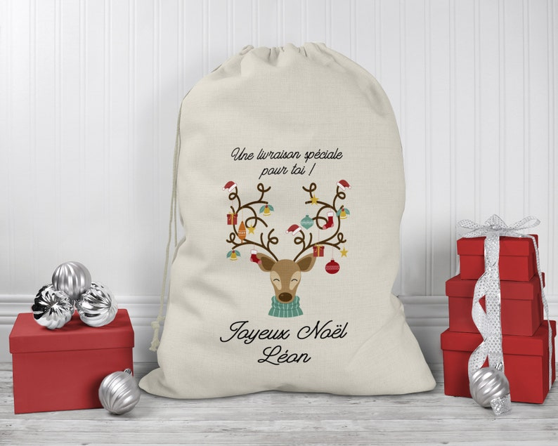 Hotte à cadeaux rennes - Créatrice ETSY : LaFabrik34