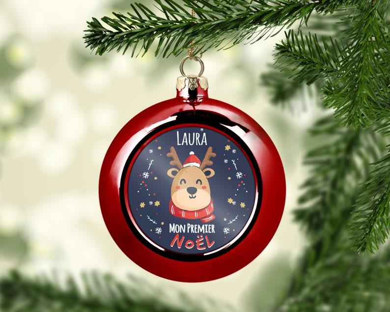 Boule de Noël rennes personnalisée - Créatrice ETSY : LaFabrik34