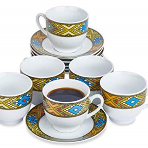 Ethiopian Traditional Coffee Cup Set of 6 Traditional Design 6 Caps and 6 Saucers