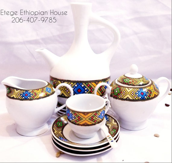 Eritrean Coffee Set  Porcelain Durable Gloss Finish 23 Pieces in Color Box