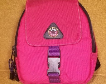 TAM Sports Vintage Retro 90s Color Block Mini BackPack Red and Purple 772b7e4cf5ac5