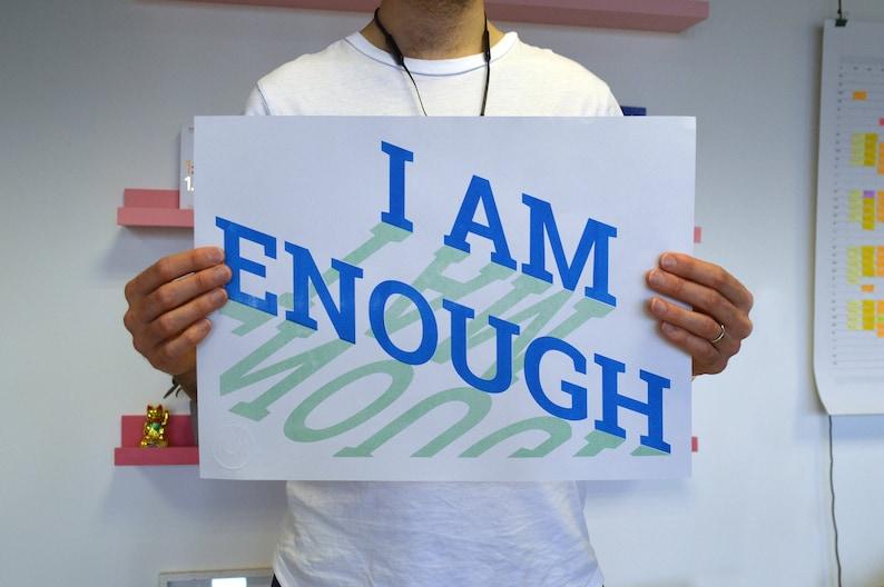 I Am Enough  A3 Risograph Print image 0