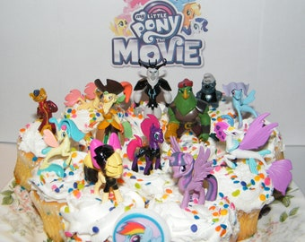My Little Pony The Movie Cake Toppers Cupcake Decorations 14 Set With 12 Figures Sticker Ring Twilight 4 Seaponies Unicorn Pirates