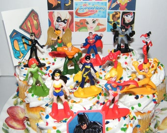 DC Super Hero Girls And Boys Deluxe Mini Cake Toppers Cupcake Decorations Set Of 14 With Figures A Sticker Sheet Toy Ring