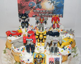 Transformer Deluxe Mini Cake Toppers Cupcake Decorations Set Of 14 With 12 Figures And Vehicles Special Tattoo Toy Ring
