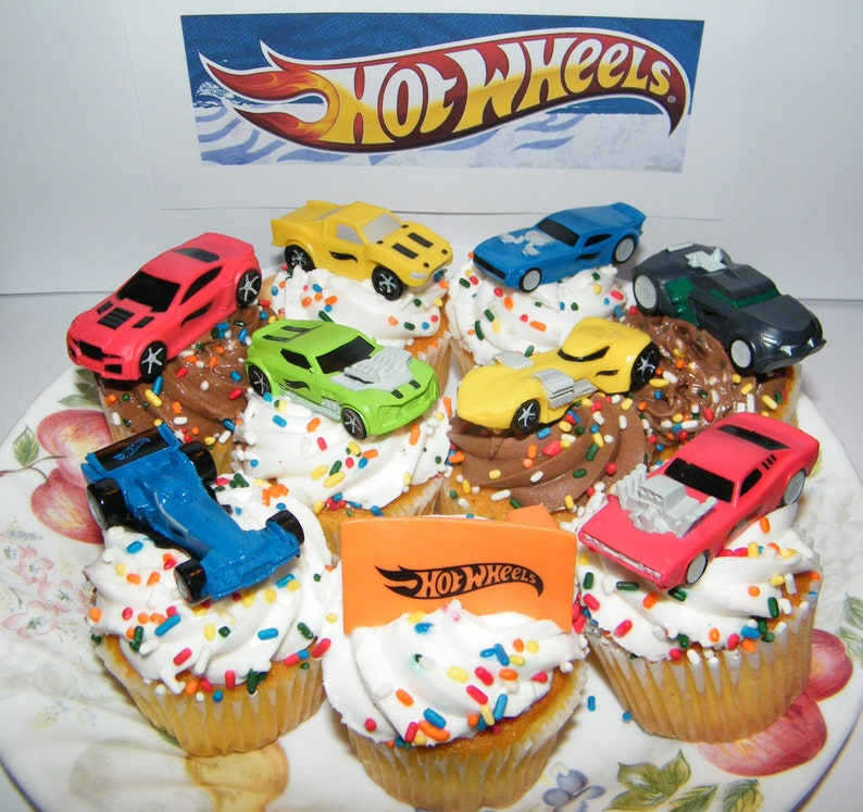 . Hot Wheels Race Car  Sports Car  High Tech Car Birthday Cake Toppers    Cupcake Party Favor Decorations Set of 9