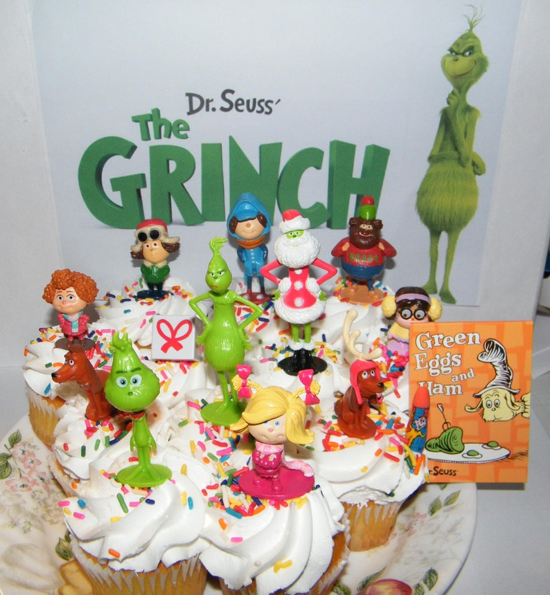 The Grinch Movie Deluxe Cake Toppers Cupcake Decorations 14 Set With 12 Figures Featuring Classic And New Characters And Notebook And Eraser