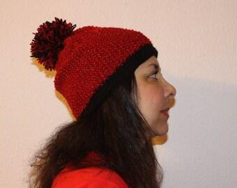 34daac1350805 Gorro de lana rojo y borde negro con brillos dorados y pompon