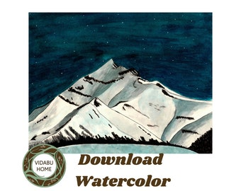 Printable wall art, printable landscape painting, printable landscape wall art, watercolor, handmade