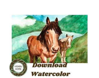 Print horses download, print  horse watercolor, print horse wall art, print handmade download, horses watercolor wall, horses drawing print