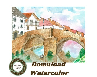 Instant Download nature watercolor, Instant nature watercolor, Instant download wall art, Instant watercolor wall art, Download watercolor